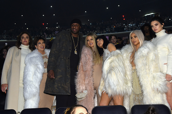 NEW YORK, NY - FEBRUARY 11: (L-R) Caitlyn Jenner, Kris Jenner, Lamar Odom, Khloe Kardashian, Kylie Jenner, Kim Kardashian and Kendall Jenner attend Kanye West Yeezy Season 3 on February 11, 2016 in New York City. (Photo by Jamie McCarthy/Getty Images for Yeezy Season 3)