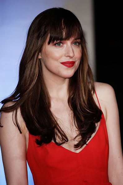 dakota Johnson red lipstick Dakota Johnson attends the official After Party Dinner for the EE British Academy Film Awards at The Grosvenor House Hotel on February 14, 2016 in London, England.