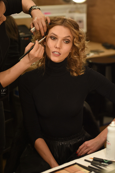NEW YORK, NY - FEBRUARY 14: Model Karlie Kloss prepares backstage at the Diane Von Furstenberg Fall 2016 show during New York Fashion Week on February 14, 2016 in New York City. (Photo by Dimitrios Kambouris/Getty Images)