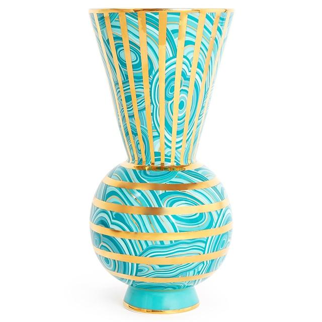 J Adler malachite vase turquoise
