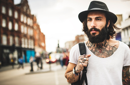 Hipster Solo traveler in Camden town London