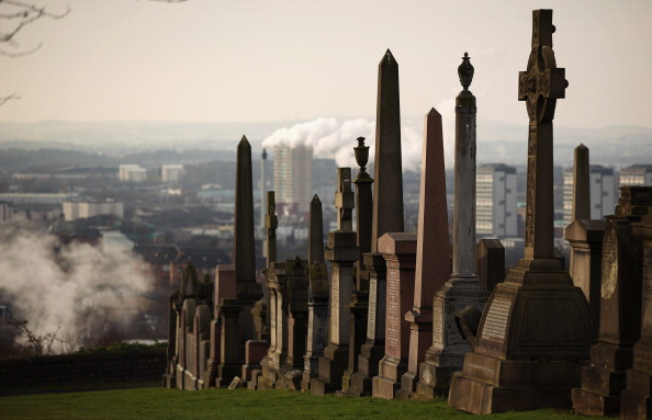 GLASGOW, SCOTLAND - FEBRUARY 08: A general view of the Glasgow Necropolis on February 8, 2012 in Glasgow, Scotland. Glasgow Necropolis is a Victorian Cemetery situated on a hill next to Glasgow Cathedral. The cemetery was based on the Pere Lachaise in Paris and it is estimated that around 50,000 burials have taken place there, with around 3500 tombs. (Photo by Jeff J Mitchell/Getty Images)
