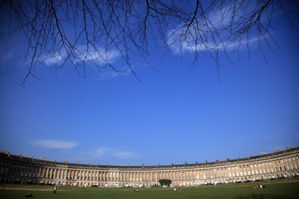 BATH, ENGLAND - MARCH 01: The sun illuminates the Royal Crescent in the heart of Georgian Bath on March 1, 2012 in Bath, England. One of the most popular tourist destinations in the westcountry, the city famed for its natural spa is hoping to gain from an influx of tourists thanks to the London 2012 Olympic Games. (Photo by Matt Cardy/Getty Images)