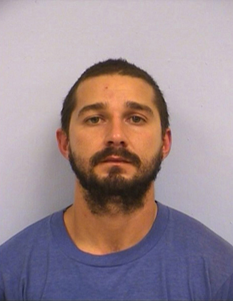 AUSTIN, TX - OCTOBER 9: In this handout provided by the Austin Police Department, Shia Saide LaBeouf poses for a mugshot photo after he was was arrested for Public Intoxication at the intersection of 6th Street and San Jacinto Boulevard on October 9, 2015 in Austin, Texas. (Photo by Austin Police Department via Getty Images)