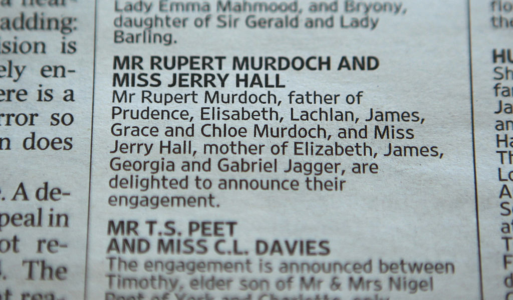 Rupert Murdoch And Jerry Hall Announce Engagement