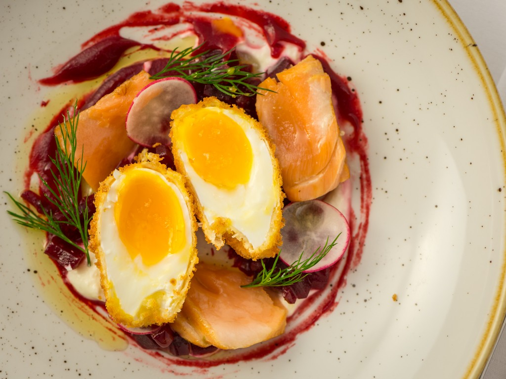 Marcel's Hot smoked salmon, organic beetroot, crispy egg, horseradish.
