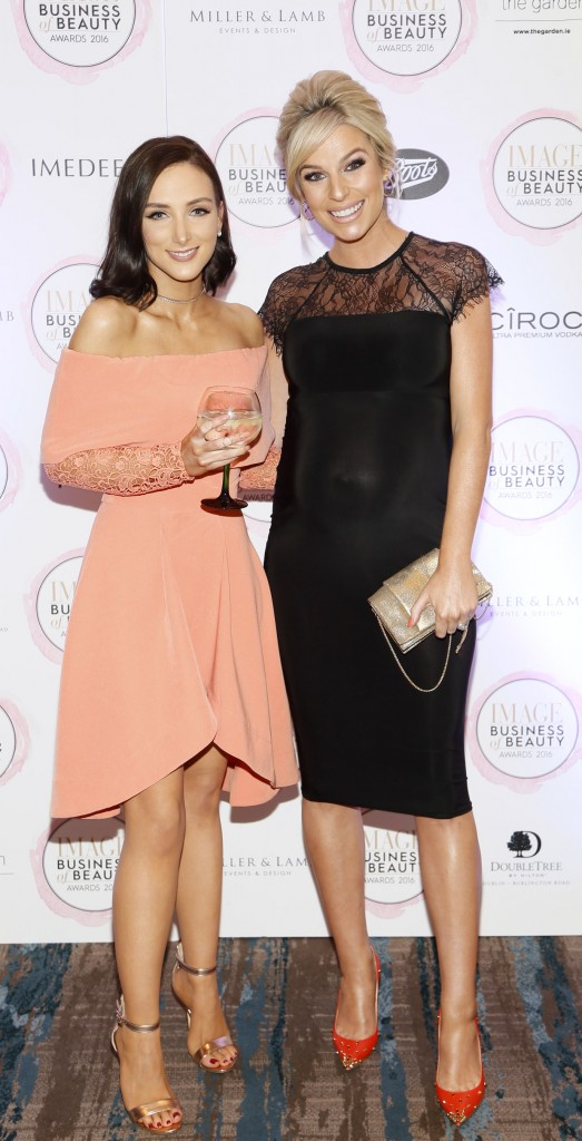 Niamh Doherty and Pippa O'Connor at the 2016 Image Business of Beauty Awards