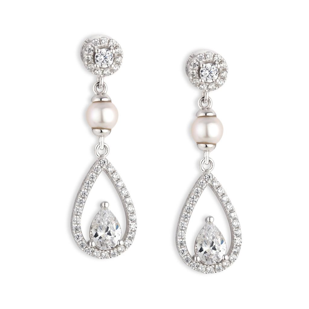 Paul Costelloe Bridal - sterling silver Earrings, crystal & pearl long tear drop