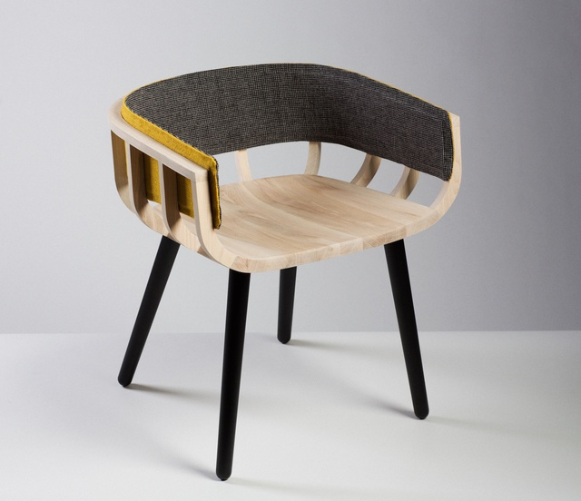 Photographed by Peter Rowen Liminal_Irish design at the threshold_ID2015_Notion and Mourne Textiles_Frame chair_front view_PR