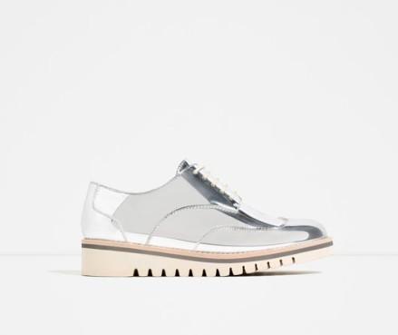 Zara Metallic Flat Shoes With Brogue Detail 39.95 EUR