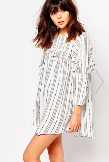 I Love Friday Smock Dress With Ruffle Trims In Spotted Stripe €70.42 Asos