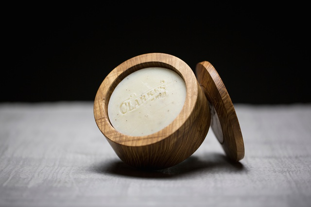 Celebrating Irish Craft & Design With Brown Thomas. Suzanne Clarke_Clarkes of Dublin_Traditional Handmade Shaving Soap in Hand Turned Ash Shaving Bowl_E58_00_Peter Rowen Photography 2015