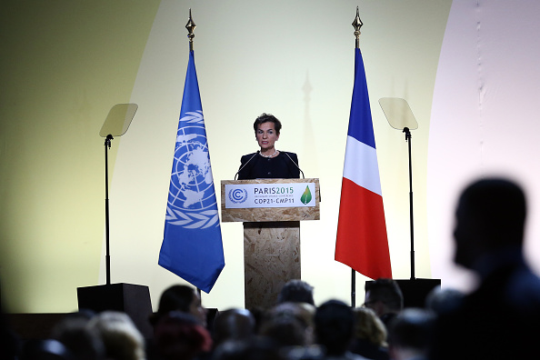PARIS, FRANCE - NOVEMBER 30: Christiana Figueres, the executive secretary of the UN Framework Convention on Climate Change, speaks during the opening session of the United Nations Climate Summit on November 30, 2015 in Paris, France. Political leaders from 147 countries will address the conference throughout Monday and the summit will see negotiators from 195 countries try to finalise a new climate treaty over the next two weeks. (Photo by Carl Court/Getty Images)