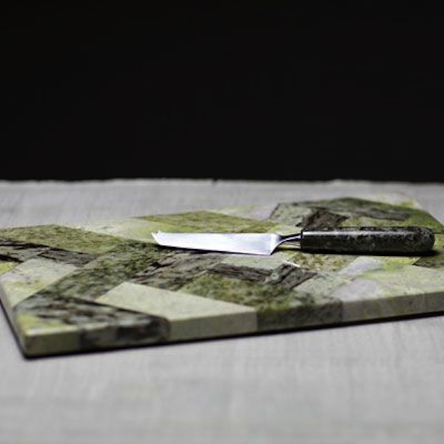Herringbone cheese platter and knife set
