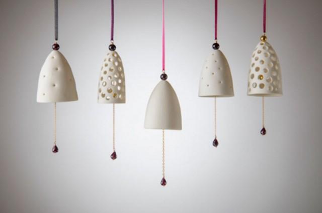 Porcelain bells, with silk string and garnet gemstone.