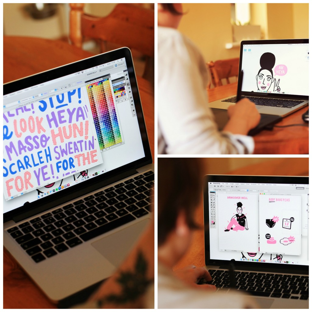 Aoife working on some illustrations