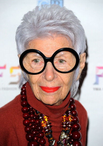 NEW YORK, NY - JANUARY 10: Iris Apfel attends the 2012 YMA Fashion Scholarship Fund Geoffrey Beene National Scholarship Awards dinner at the Waldorf Astoria Hotel on January 10, 2012 in New York City. (Photo by Andrew H. Walker/Getty Images)