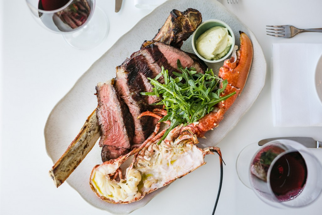 Tomahawk and Lobster sharing dish