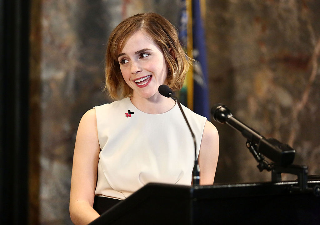 NEW YORK, NY - MARCH 08: Actress Emma Watson speaks during The Empire State Building lighting In HeForShe Magenta For International Women's Day at The Empire State Building on March 8, 2016 in New York City. (Photo by Astrid Stawiarz/Getty Images)