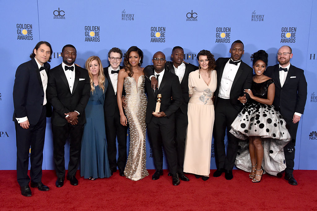 "BEVERLY HILLS, CA - JANUARY 08: (L-R) The cast and crew of ""Moonlight,"" winners of Best Motion Picture - Drama, pose in the press room during the 74th Annual Golden Globe Awards at The Beverly Hilton Hotel on January 8, 2017 in Beverly Hills, California. (Photo by Alberto E. Rodriguez/Getty Images)"