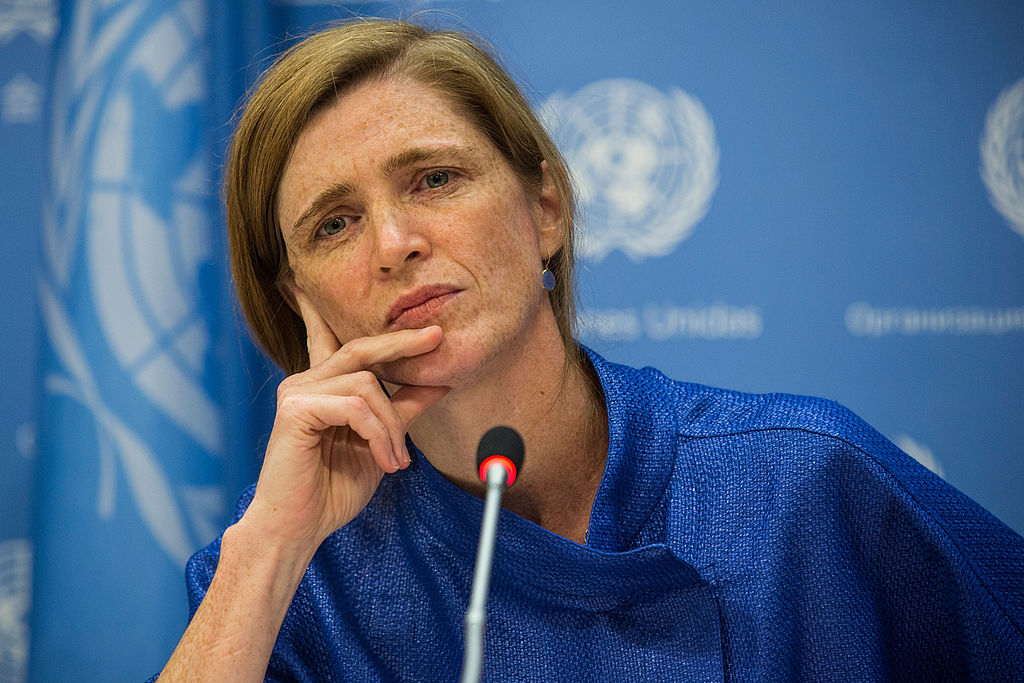 United Nations Ambassador Samantha Power Holds Press Conference At United Nations