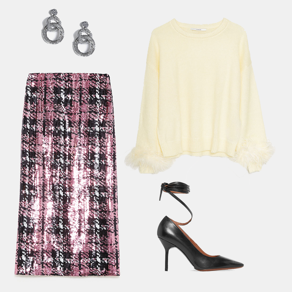Sequinned midi skirt, €39.95 at zara.com, pastel feather-trimmed sweater, €125 at uterque.com, leather pumps by Vetements, €424 at theoutnet.com,Christmas sequin link drop earrings, €16 at topshop.com
