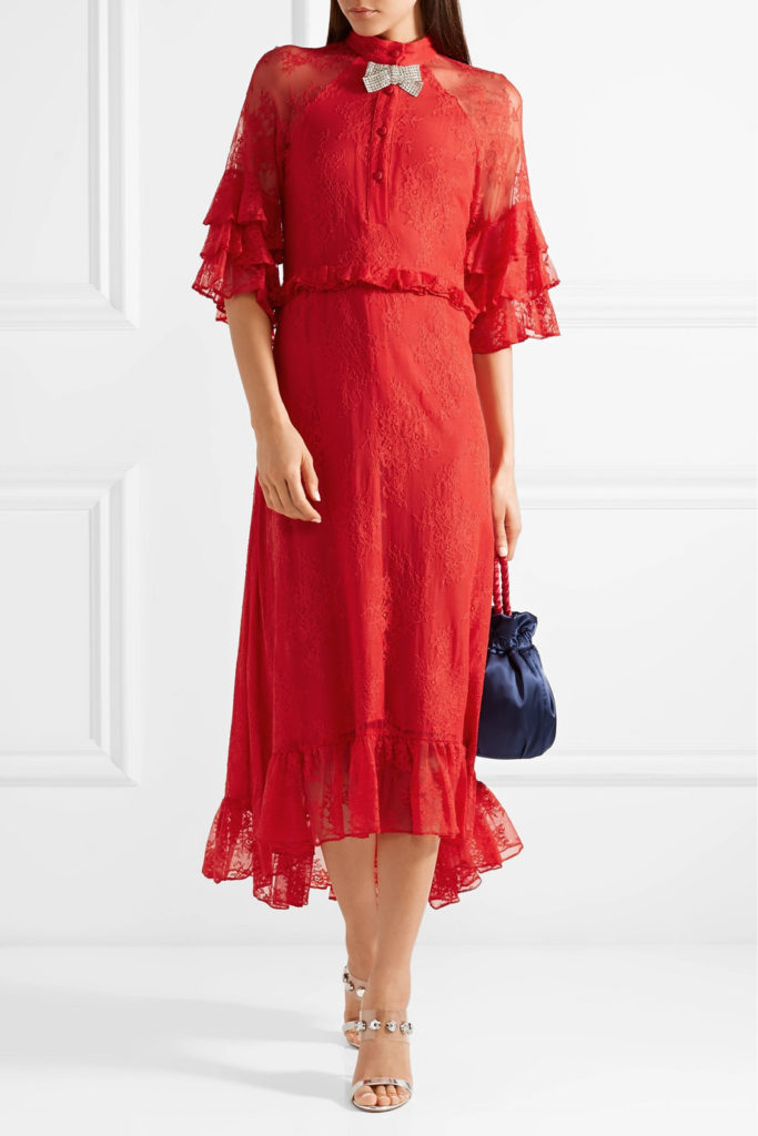 Crystal-embellished ruffled stretch-lace midi dress byDodo Bar Or, €351 at theoutnet.com