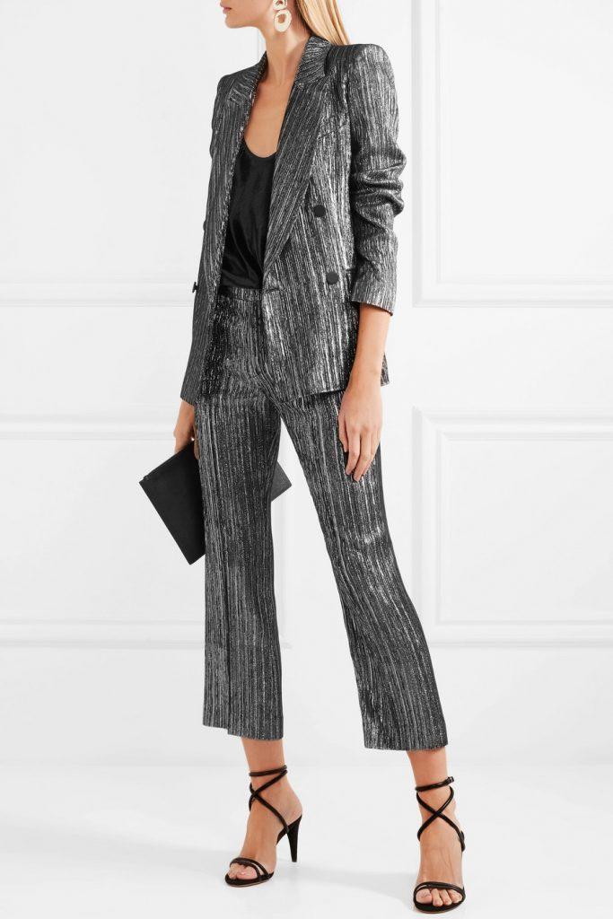 Denel double-breasted textured-lamé blazer, €940.Dansley cropped textured-lamé straight-leg pants, €540, netaporter.com