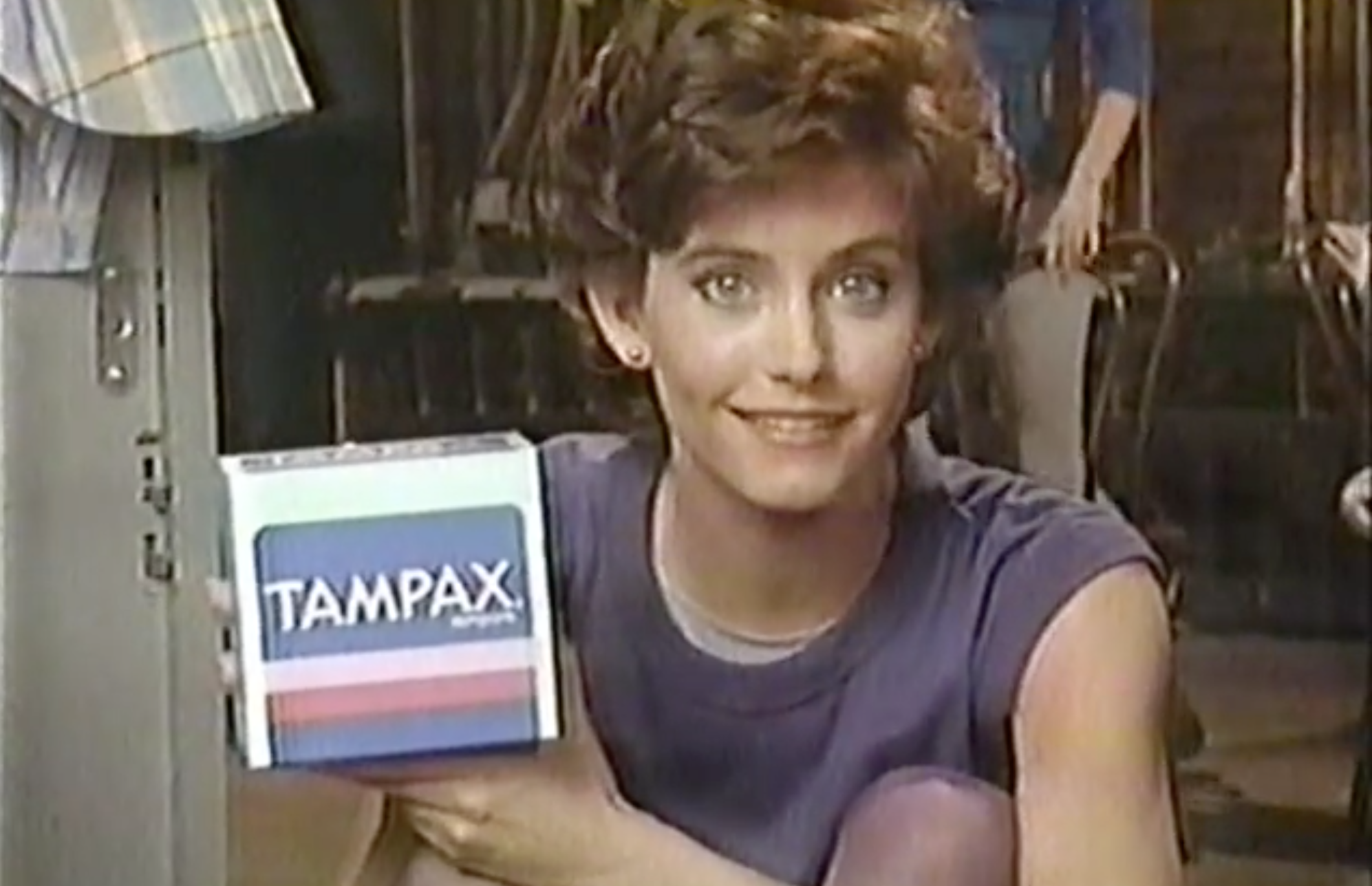 Courtney Cox in an 1985 ad for Tampax.