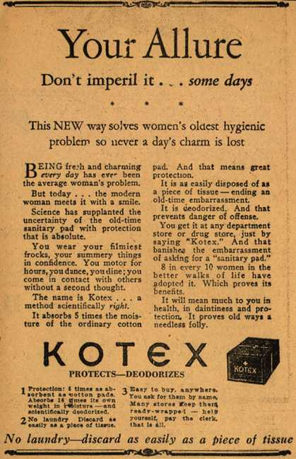 A Kotex 1920s sanitary pad ad
