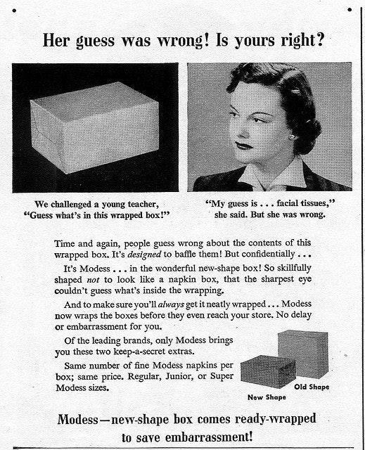 1950s ad for Modess