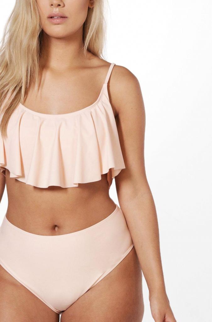 Plus crop frill bikini, €21 at boohoo.com