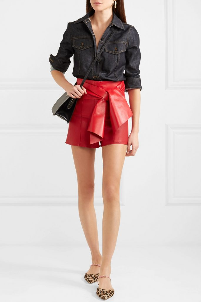 Bow-detailed leather shorts by Valentino, €1,980 at net-a-porter.com
