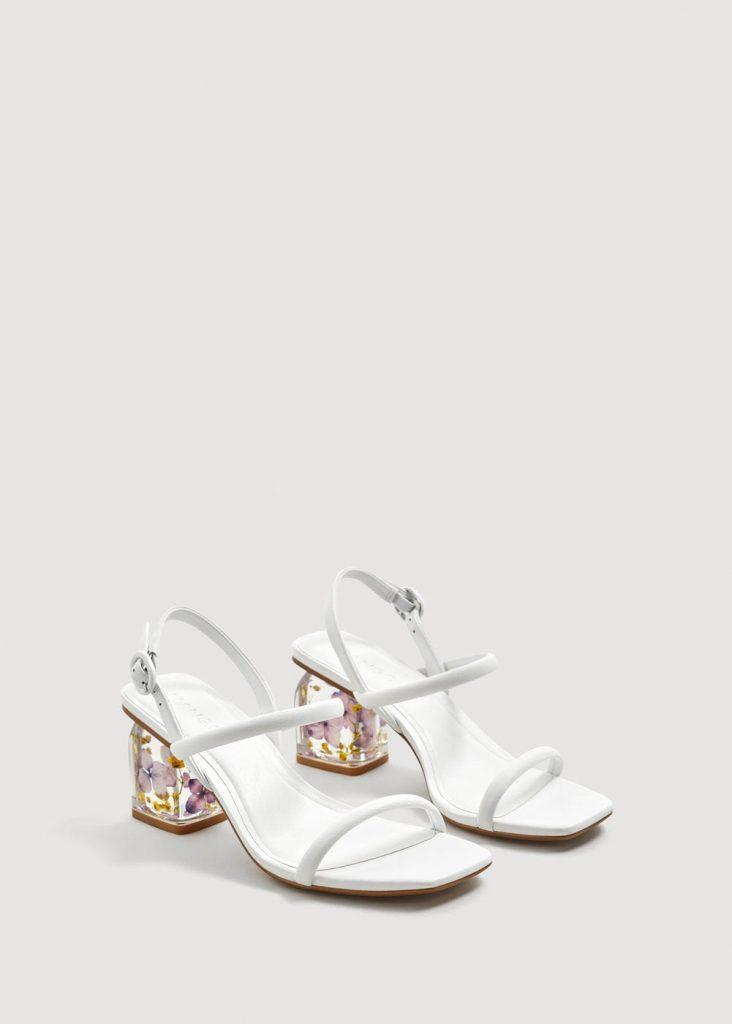 Flowered heel leather sandals, €69.95 at mango.com