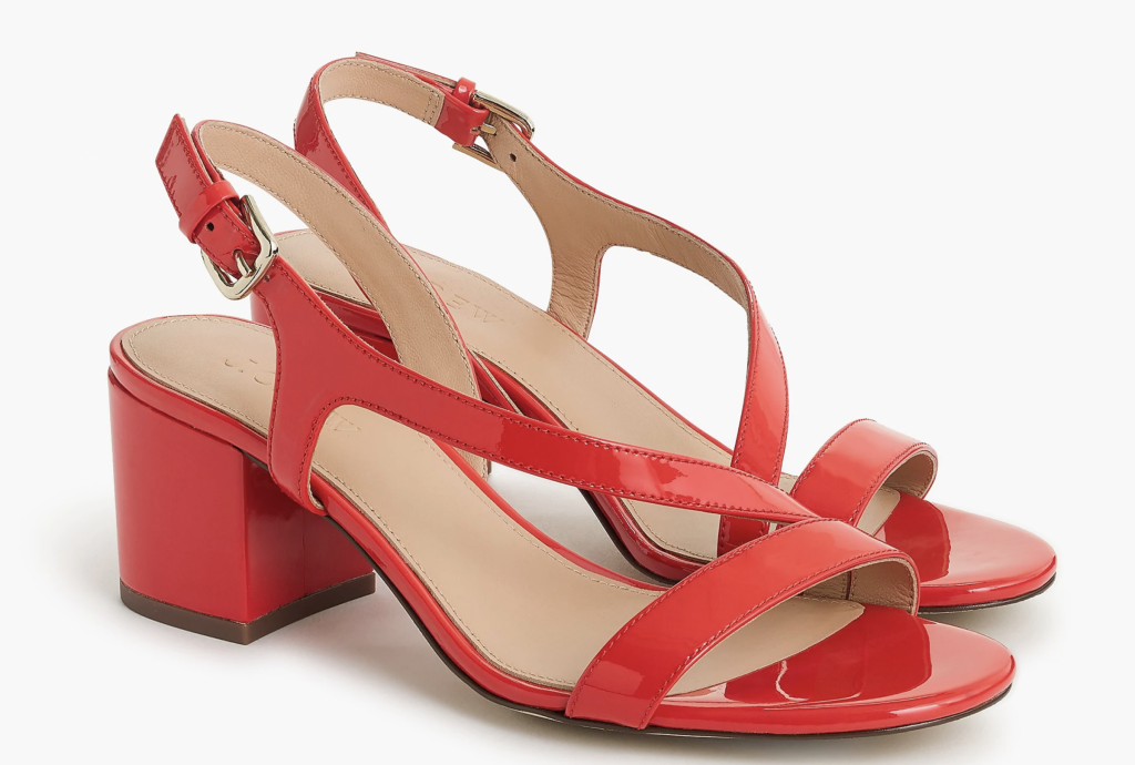 Asymmetrical strappy sandals in patent leather, €192.09 at jcrew.com