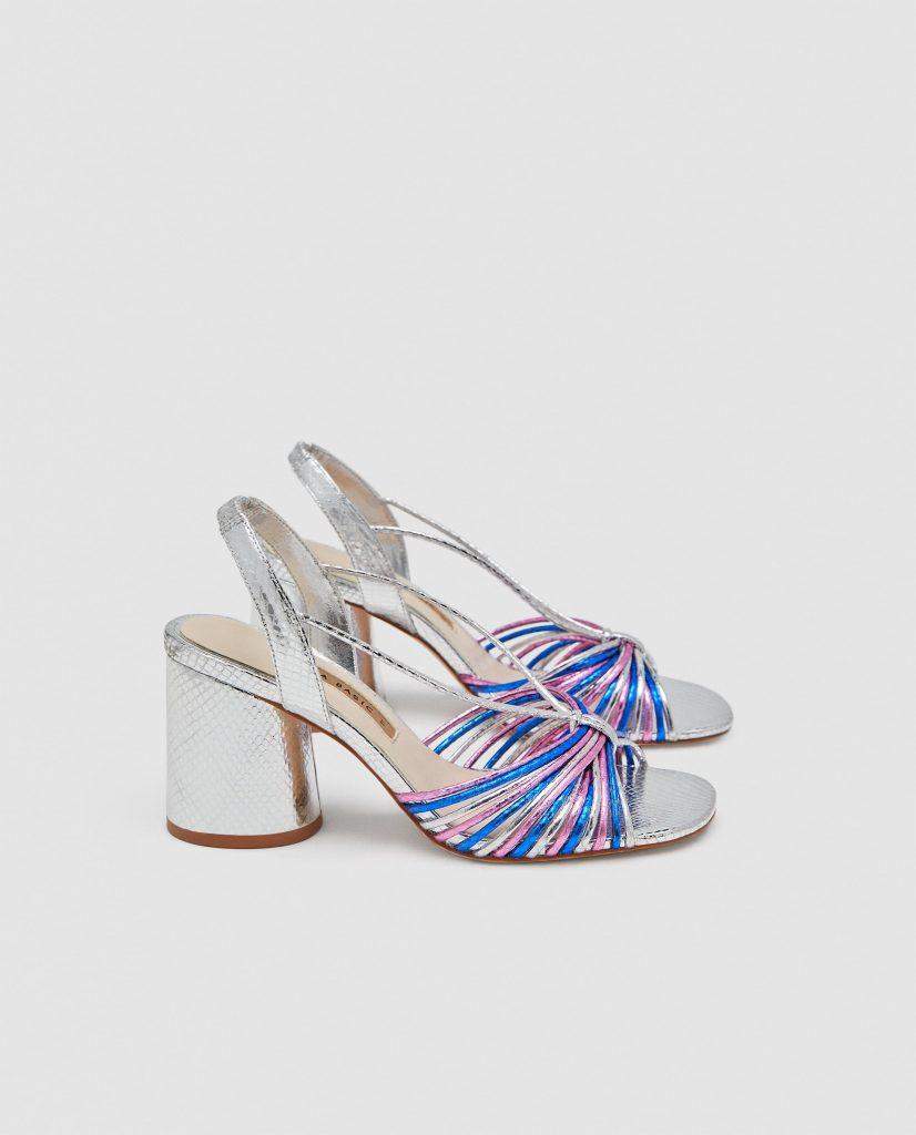 silver strappy high heels, €49.95 at zara.com