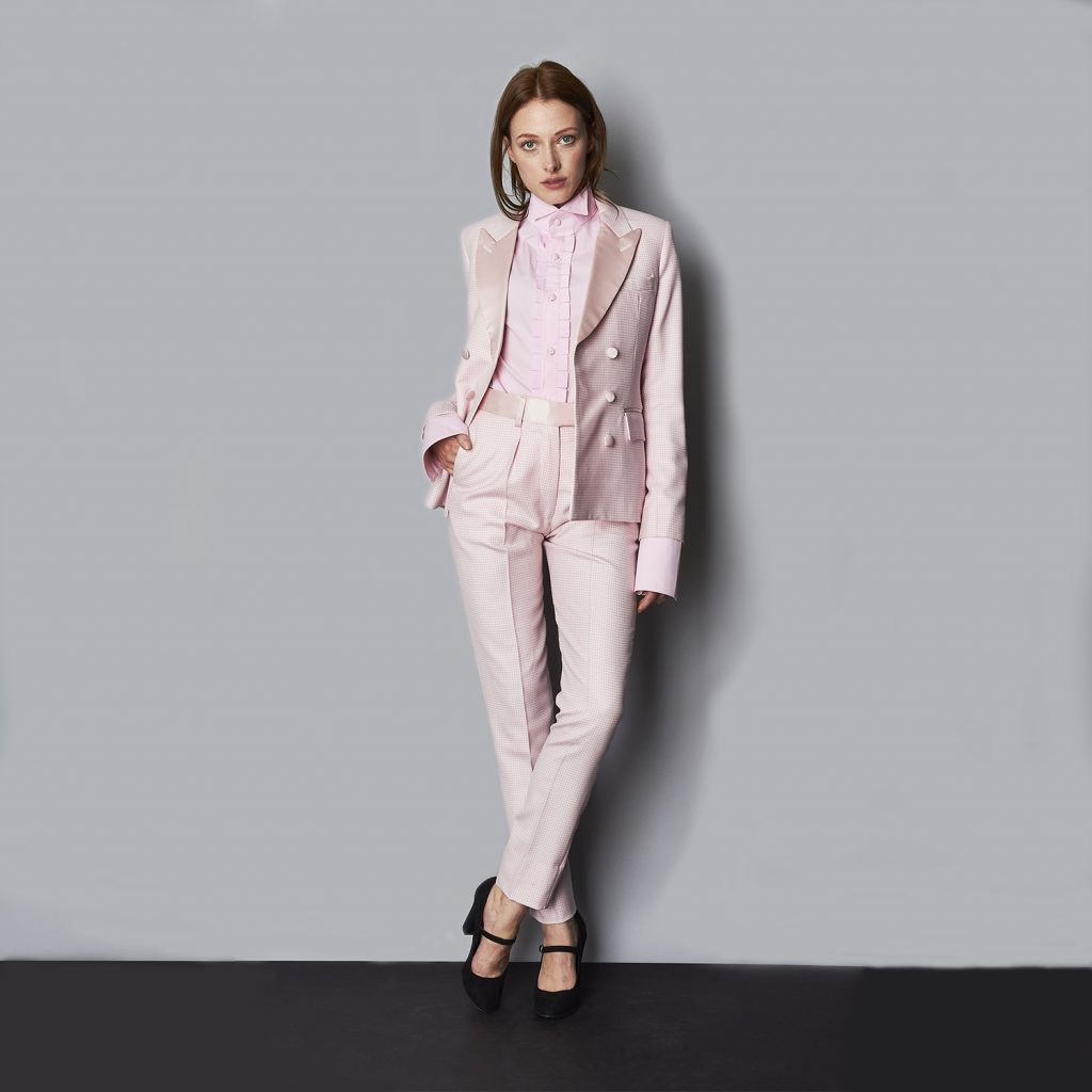 'The Juliet' pink puppytooth double-breasted suit, €2174.70 at joshuakanestore.com