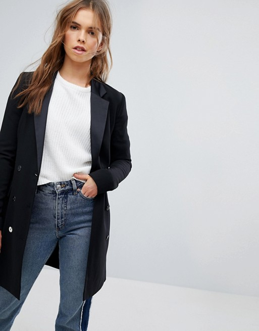 Bershka Double Breasted Longline Blazer