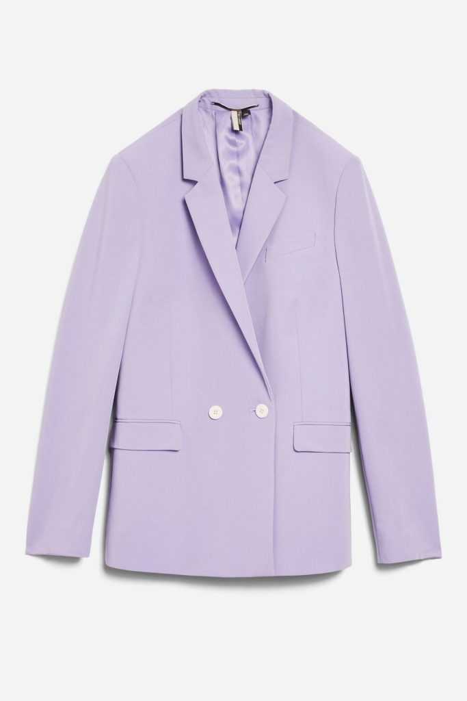 Double-breasted suit jacket, €68 at topshop.com