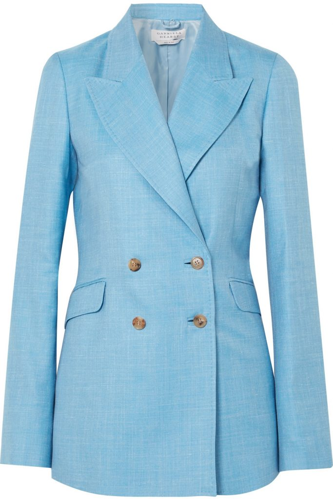 Angela double-breasted wool, silk and linen-blend blazer by Gabriella Hearst, €1,395 at net-a-porter.com
