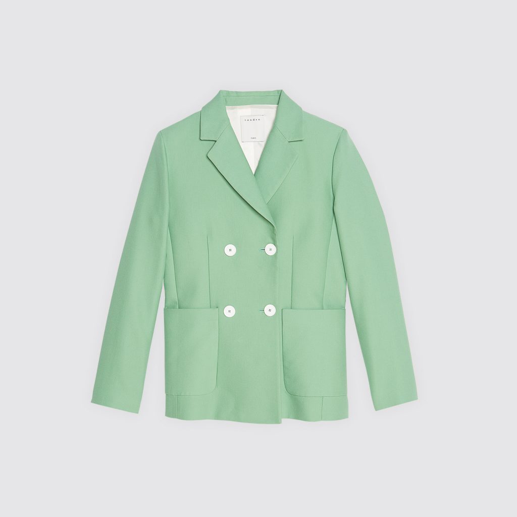 Almond green tailored jacket, €400.98 at sandro-paris.com