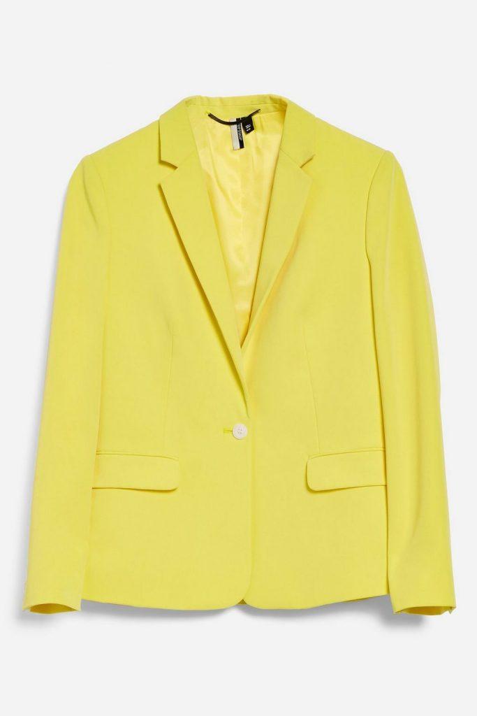 Yellow suit jacket, €68 at topshop.com