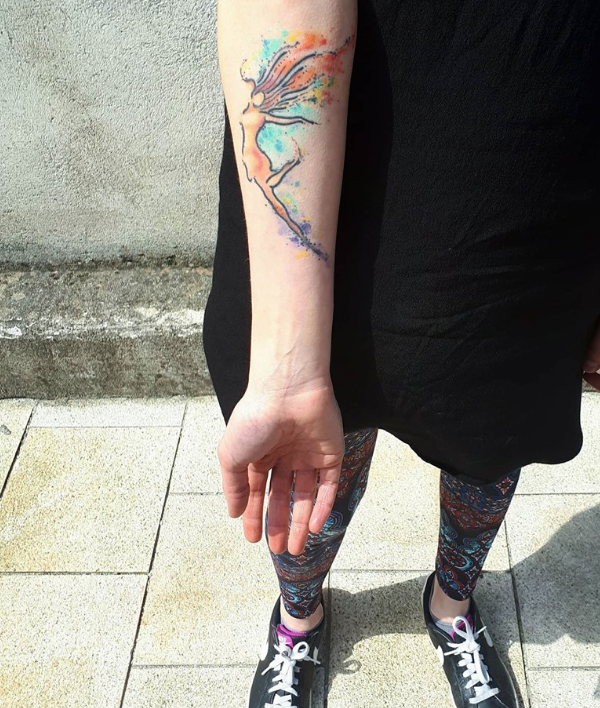 Geraldine Carton's dancing girl tattoo