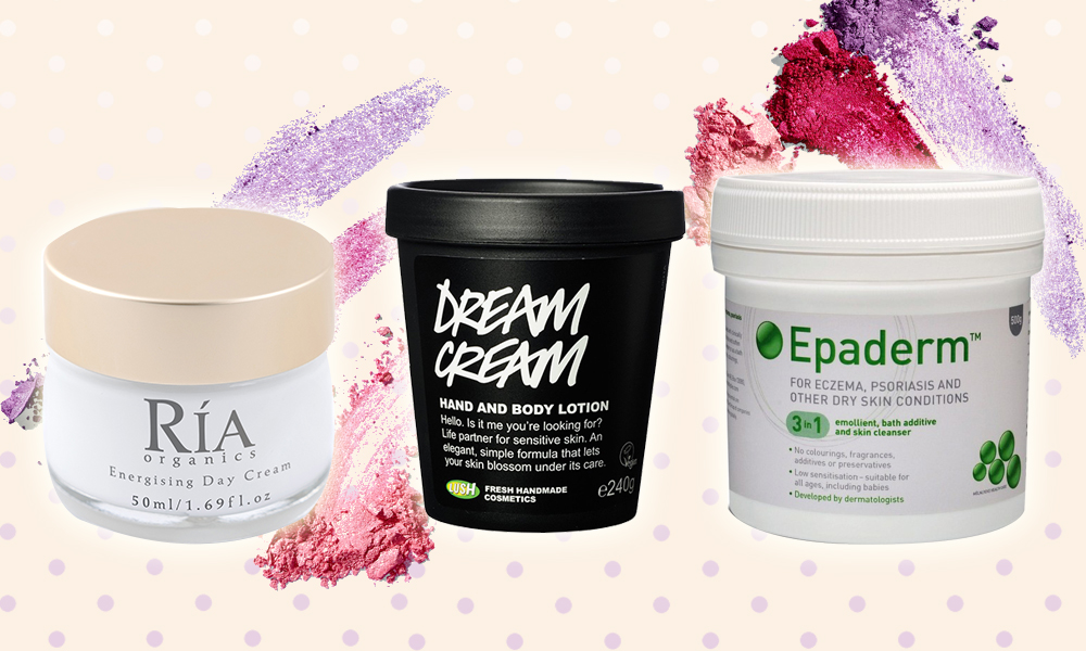 Energising day cream, €40 at riaorganics.ie, Dream cream body lotion, €15.88 at lush.com, Epaderm cream, €4.99 at boots.com