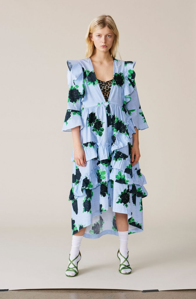 Pine ruffle dress, €549 at ganni.com