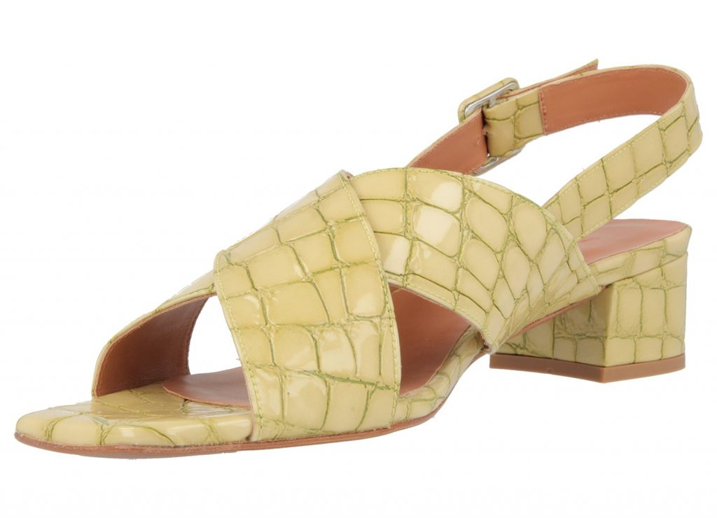 Anelia green croco embossed leather slingbacks, €360 at byfarshoes.com