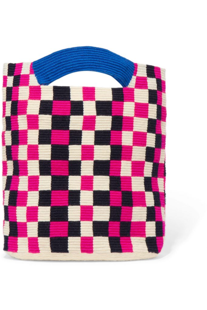 Mila checked woven tote by Sophia Anderson, €147 at net-a-porter.com