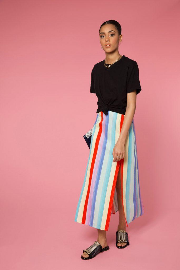 Thalia multi chalk stripe skirt, €222 at rixo.co.uk