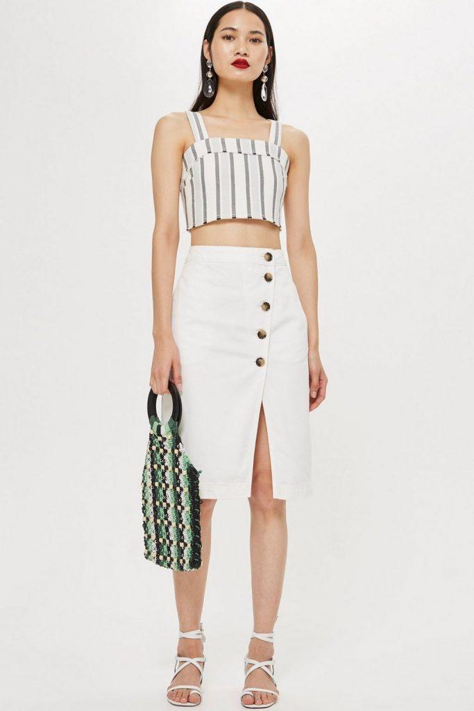 White horn midi skirt, €50 at topshop.com