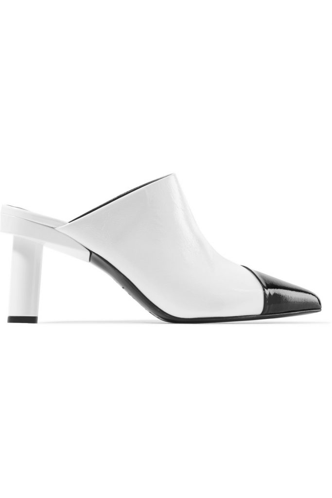 Liam two-tone crinkled patent-leather mules by Tibi, €315 at net-a-porter.com